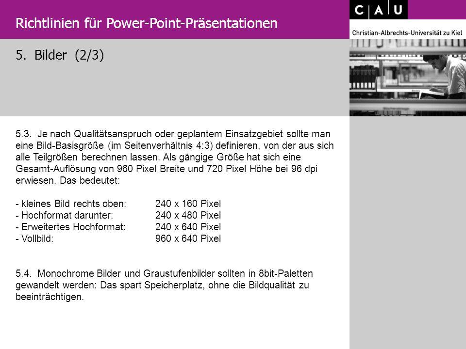5. Bilder (2/3) Richtlinien für Power-Point-Präsentationen 5.3. Je nach Qualitätsanspruch oder geplantem Einsatzgebiet sollte man eine Bild-Basisgröße