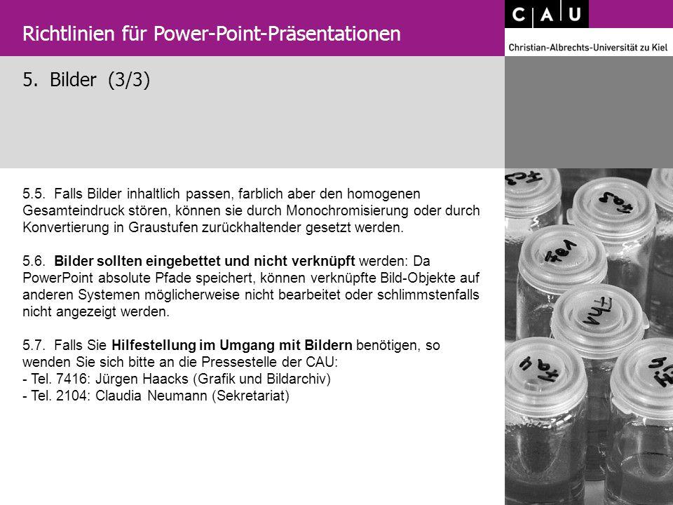 5. Bilder (3/3) Richtlinien für Power-Point-Präsentationen 5.5. Falls Bilder inhaltlich passen, farblich aber den homogenen Gesamteindruck stören, kön
