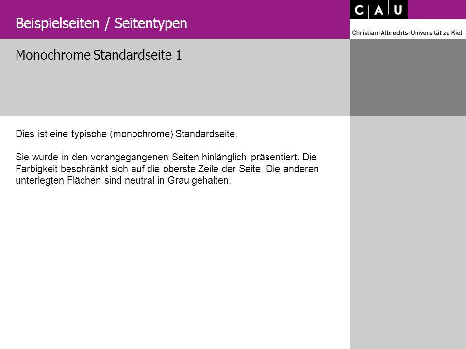 Beispielseiten / Seitentypen Monochrome Standardseite 1 Dies ist eine typische (monochrome) Standardseite. Sie wurde in den vorangegangenen Seiten hin