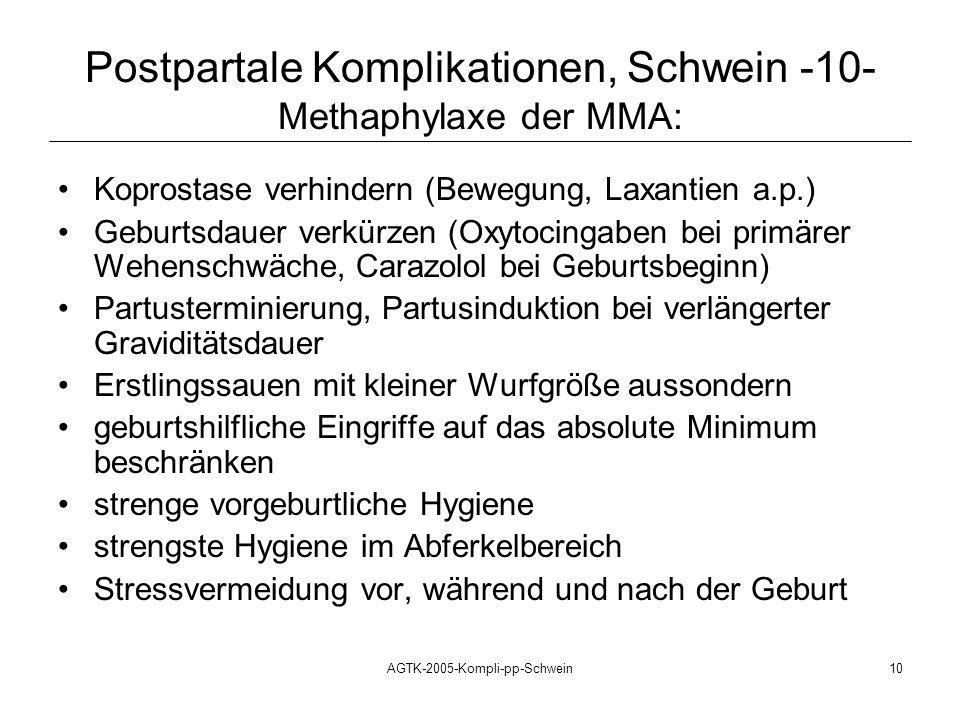 AGTK-2005-Kompli-pp-Schwein10 Koprostase verhindern (Bewegung, Laxantien a.p.) Geburtsdauer verkürzen (Oxytocingaben bei primärer Wehenschwäche, Caraz