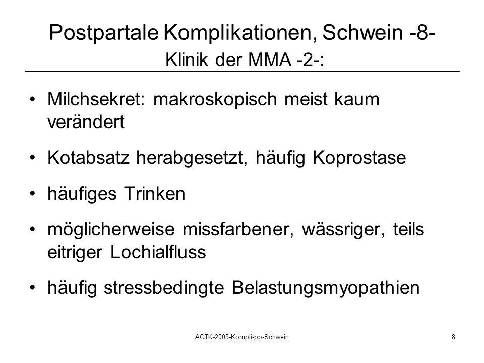 AGTK-2005-Kompli-pp-Schwein8 Milchsekret: makroskopisch meist kaum verändert Kotabsatz herabgesetzt, häufig Koprostase häufiges Trinken möglicherweise