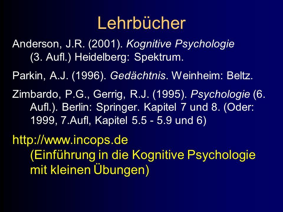 Lehrbücher Anderson, J.R. (2001). Kognitive Psychologie (3. Aufl.) Heidelberg: Spektrum. Parkin, A.J. (1996). Gedächtnis. Weinheim: Beltz. Zimbardo, P