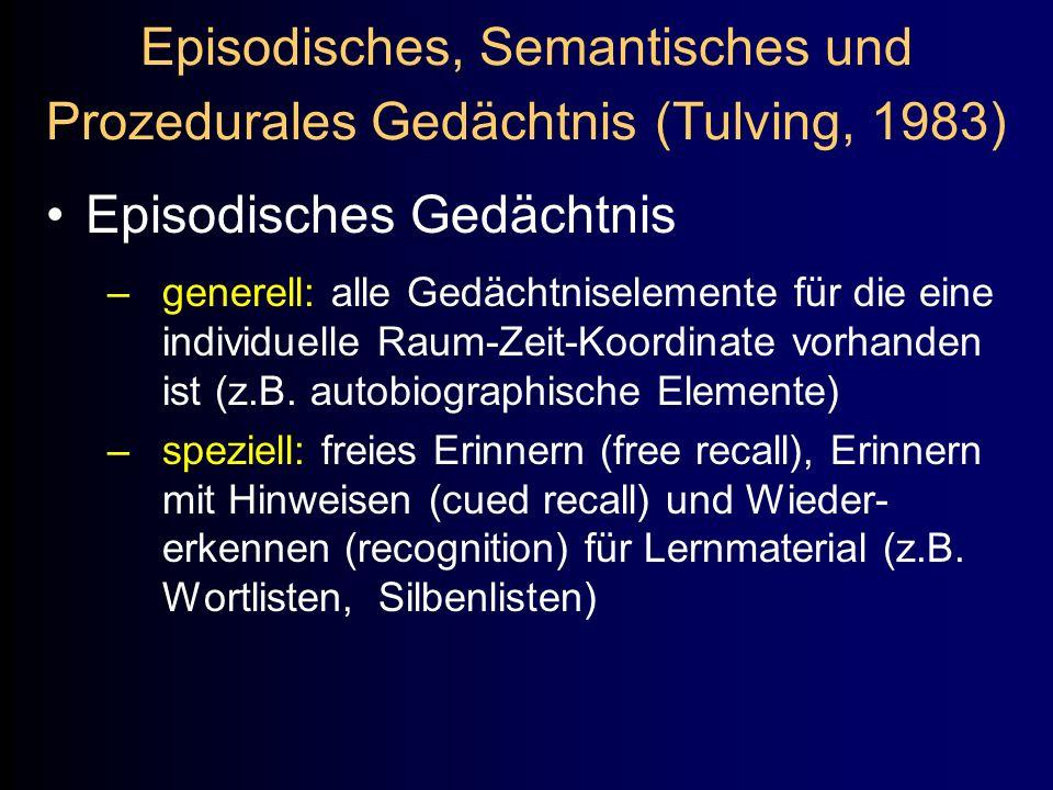 Episodisches, Semantisches und Prozedurales Gedächtnis (Tulving, 1983) Episodisches Gedächtnis –generell: alle Gedächtniselemente für die eine individ