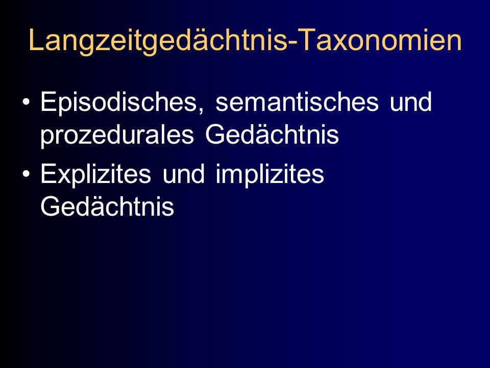 Langzeitgedächtnis-Taxonomien Episodisches, semantisches und prozedurales Gedächtnis Explizites und implizites Gedächtnis