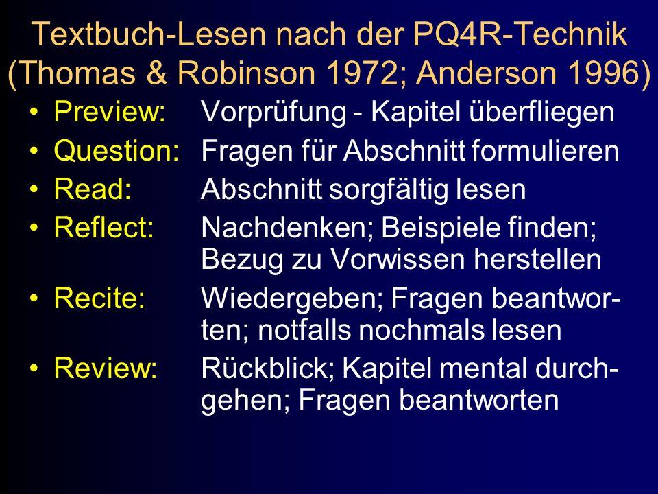 Textbuch-Lesen nach der PQ4R-Technik (Thomas & Robinson 1972; Anderson 1996) Preview:Vorprüfung - Kapitel überfliegen Question:Fragen für Abschnitt fo