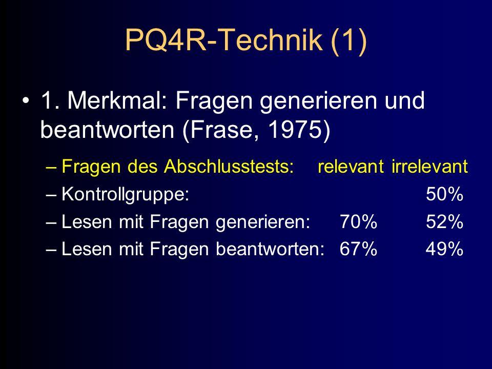 PQ4R-Technik (1) 1. Merkmal: Fragen generieren und beantworten (Frase, 1975) –Fragen des Abschlusstests: relevant irrelevant –Kontrollgruppe:50% –Lese