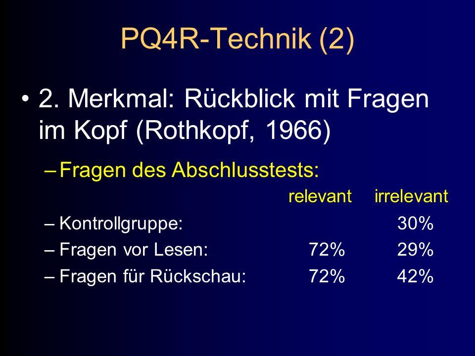 PQ4R-Technik (2) 2. Merkmal: Rückblick mit Fragen im Kopf (Rothkopf, 1966) –Fragen des Abschlusstests: relevant irrelevant –Kontrollgruppe:30% –Fragen