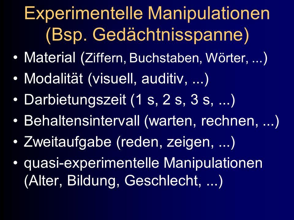 Experimentelle Manipulationen (Bsp. Gedächtnisspanne) Material ( Ziffern, Buchstaben, Wörter,... ) Modalität (visuell, auditiv,...) Darbietungszeit (1