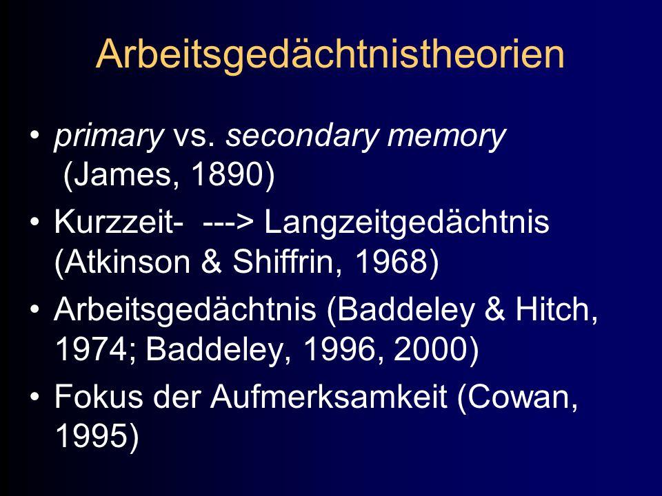 Arbeitsgedächtnistheorien primary vs. secondary memory (James, 1890) Kurzzeit- ---> Langzeitgedächtnis (Atkinson & Shiffrin, 1968) Arbeitsgedächtnis (