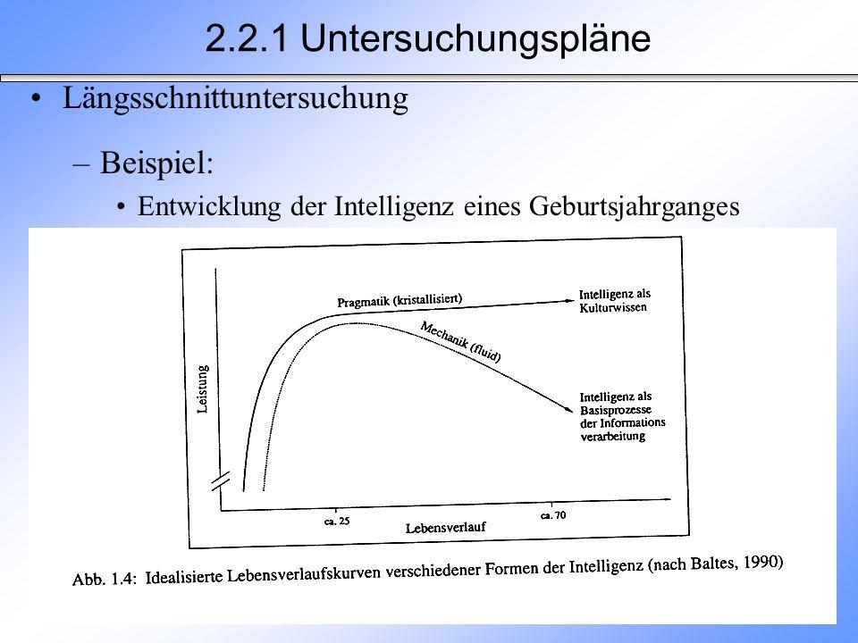 Längsschnittuntersuchung –Beispiel: Entwicklung der Intelligenz eines Geburtsjahrganges 2.2.1 Untersuchungspläne