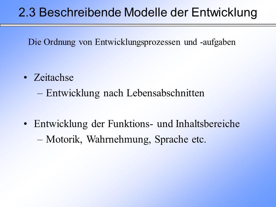 2.3 Beschreibende Modelle der Entwicklung Die Ordnung von Entwicklungsprozessen und -aufgaben Zeitachse –Entwicklung nach Lebensabschnitten Entwicklun