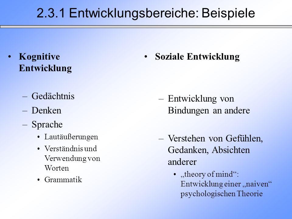 2.3.1 Entwicklungsbereiche: Beispiele Kognitive Entwicklung –Gedächtnis –Denken –Sprache Lautäußerungen Verständnis und Verwendung von Worten Grammati