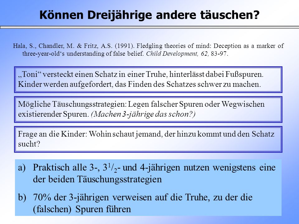 Können Dreijährige andere täuschen? Hala, S., Chandler, M. & Fritz, A.S. (1991). Fledgling theories of mind: Deception as a marker of three-year-olds