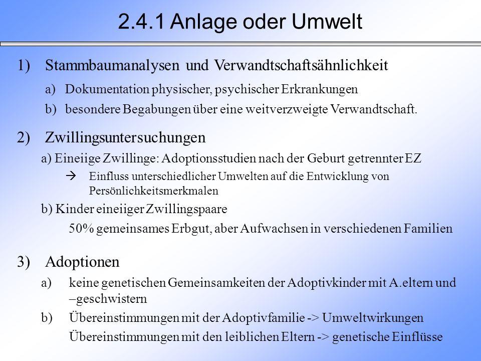 2.4.1 Anlage oder Umwelt 1)Stammbaumanalysen und Verwandtschaftsähnlichkeit a)Dokumentation physischer, psychischer Erkrankungen b)besondere Begabunge