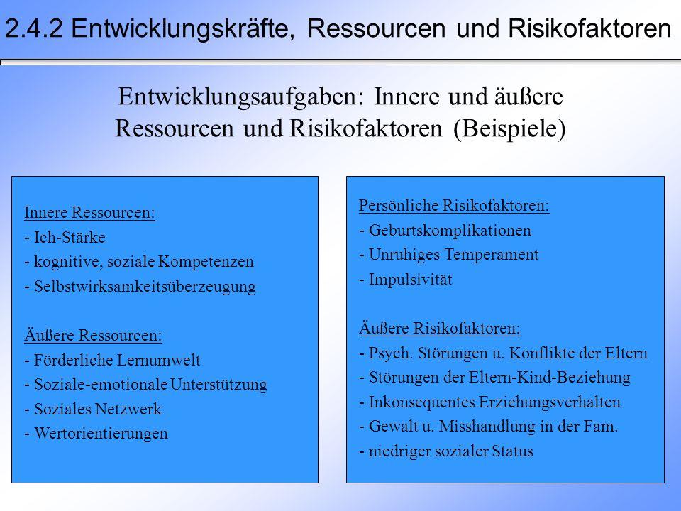 2.4.2 Entwicklungskräfte, Ressourcen und Risikofaktoren Entwicklungsaufgaben: Innere und äußere Ressourcen und Risikofaktoren (Beispiele) Innere Resso