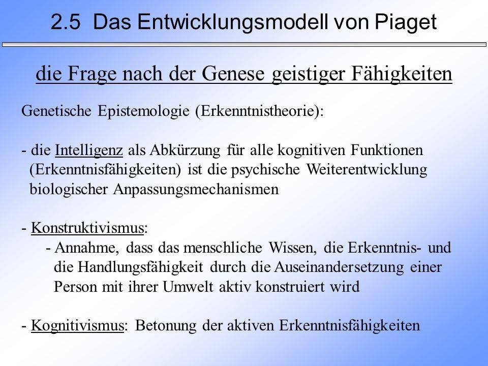 2.5 Das Entwicklungsmodell von Piaget die Frage nach der Genese geistiger Fähigkeiten Genetische Epistemologie (Erkenntnistheorie): - die Intelligenz