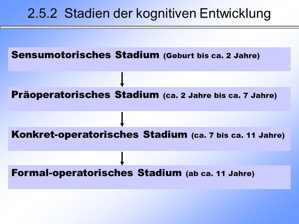 2.5.2 Stadien der kognitiven Entwicklung Sensumotorisches Stadium (Geburt bis ca. 2 Jahre) Präoperatorisches Stadium (ca. 2 Jahre bis ca. 7 Jahre) Kon