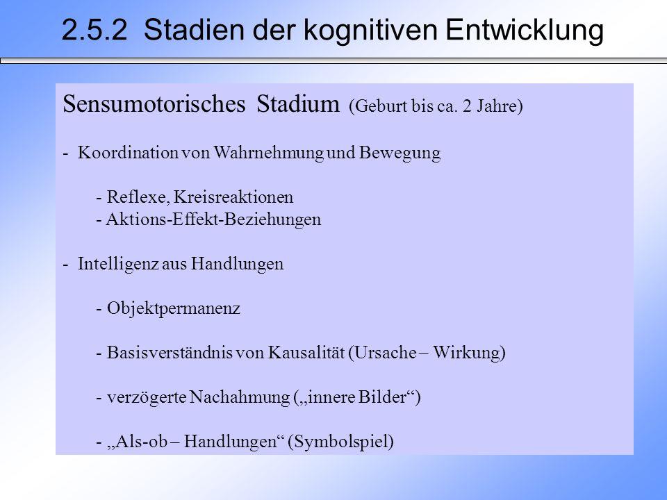 2.5.2 Stadien der kognitiven Entwicklung Sensumotorisches Stadium (Geburt bis ca. 2 Jahre) - Koordination von Wahrnehmung und Bewegung - Reflexe, Krei