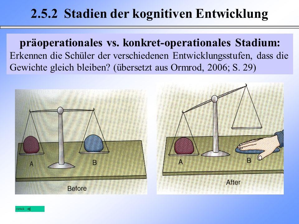 2.5.2 Stadien der kognitiven Entwicklung präoperationales vs. konkret-operationales Stadium: Erkennen die Schüler der verschiedenen Entwicklungsstufen