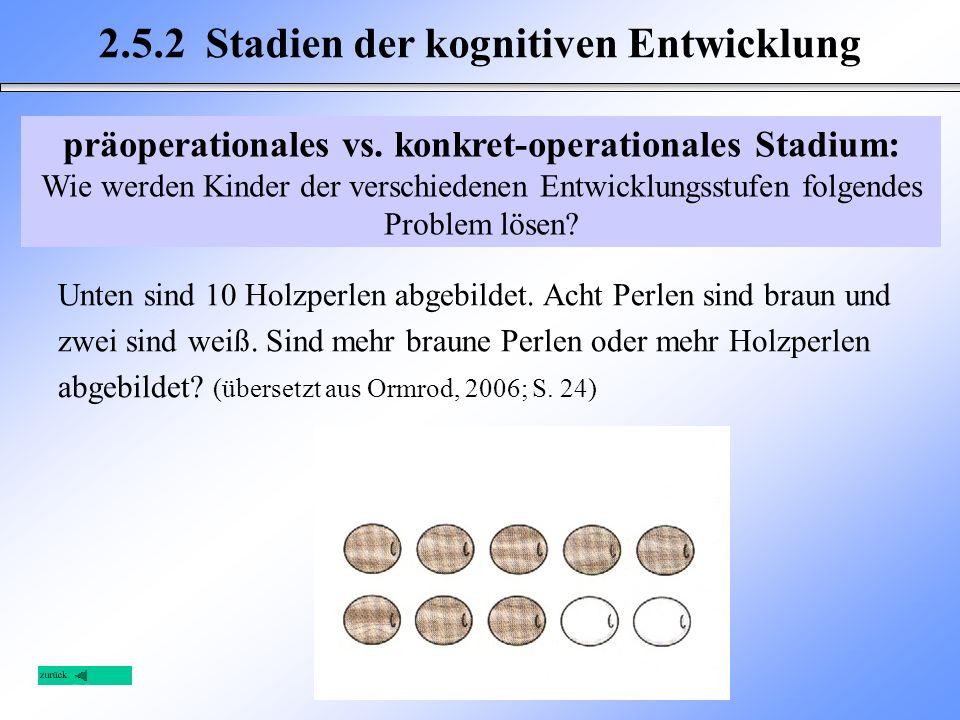 2.5.2 Stadien der kognitiven Entwicklung Unten sind 10 Holzperlen abgebildet. Acht Perlen sind braun und zwei sind weiß. Sind mehr braune Perlen oder