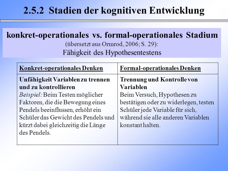 2.5.2 Stadien der kognitiven Entwicklung Konkret-operationales DenkenFormal-operationales Denken Unfähigkeit Variablen zu trennen und zu kontrollieren