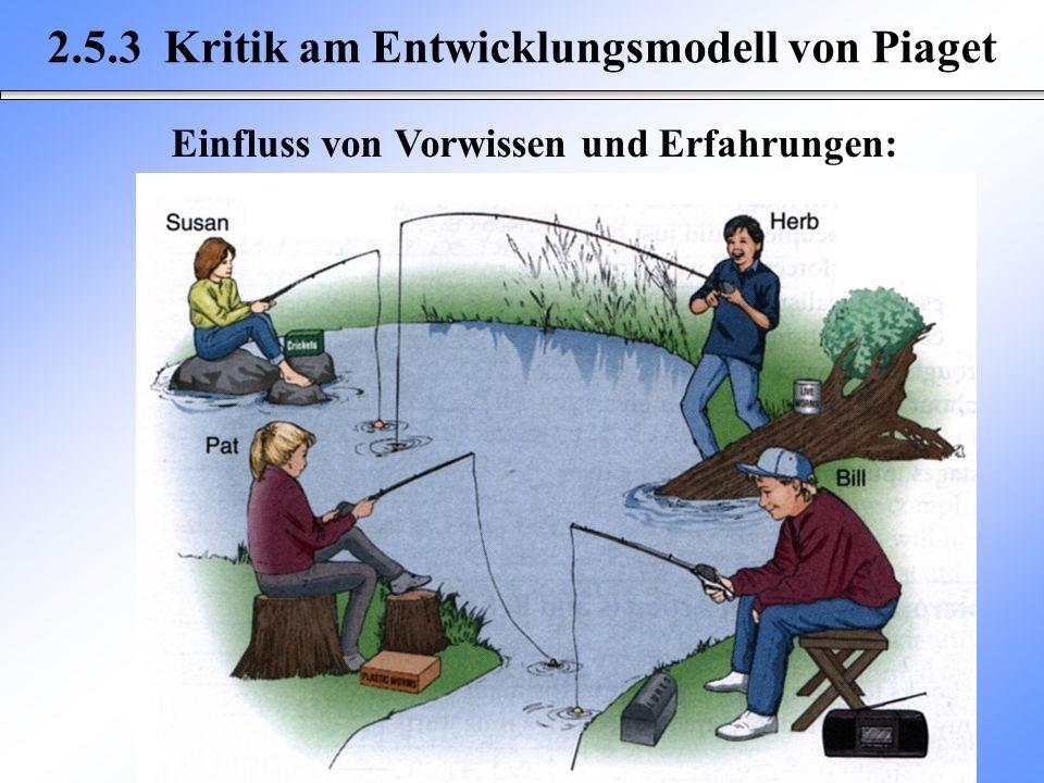 2.5.3 Kritik am Entwicklungsmodell von Piaget Einfluss von Vorwissen und Erfahrungen: