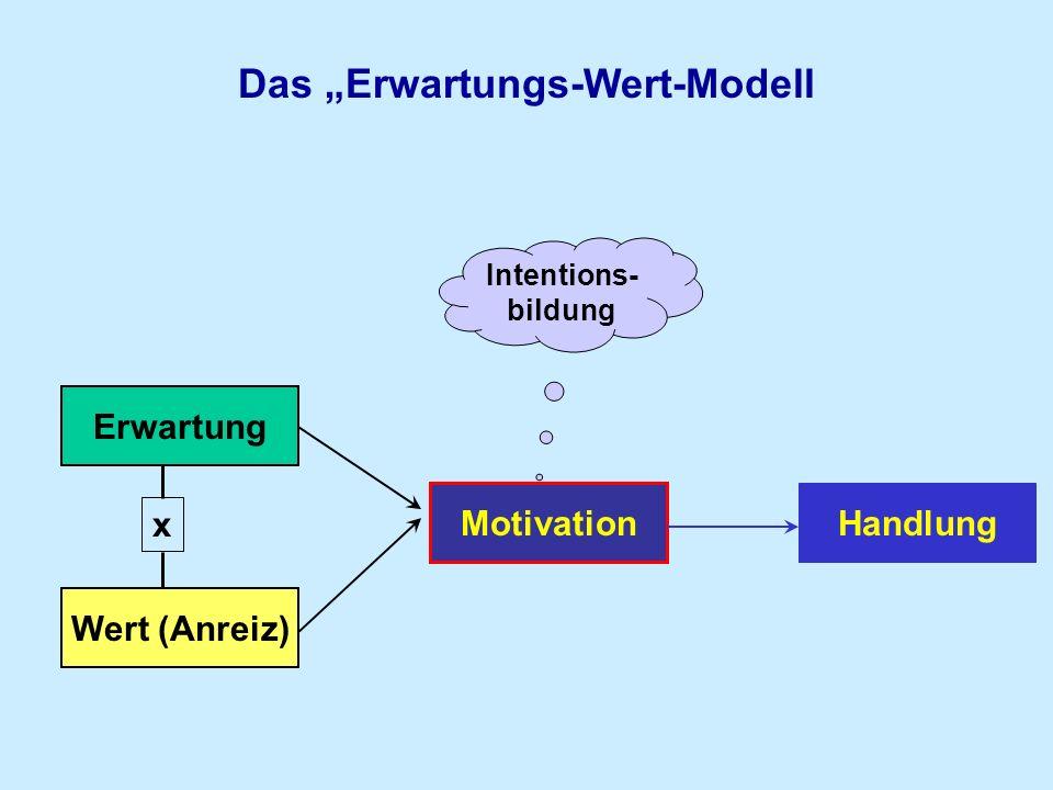 Das Erwartungs-Wert-Modell Motivation Handlung Wert (Anreiz) Erwartung x Intentions- bildung