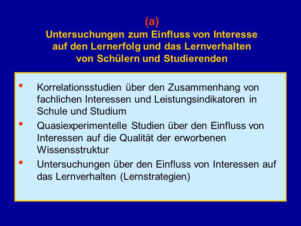(a) Untersuchungen zum Einfluss von Interesse auf den Lernerfolg und das Lernverhalten von Schülern und Studierenden Korrelationsstudien über den Zusa