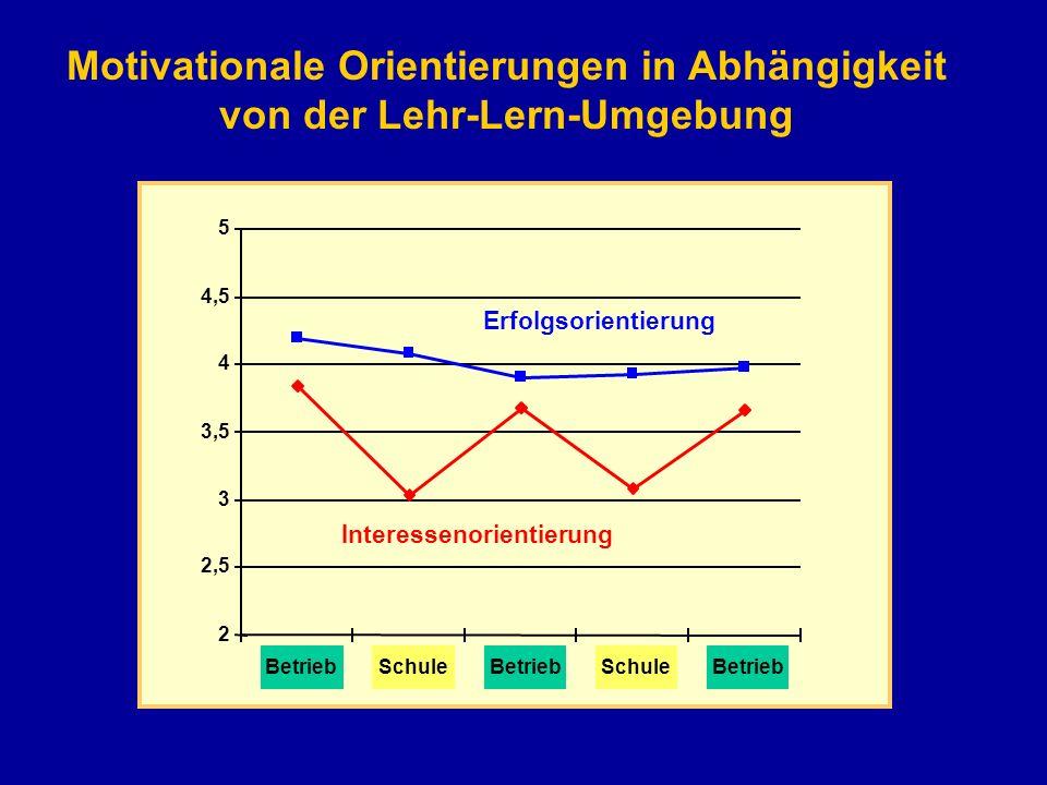2 2,5 3 3,5 4 4,5 5 BetriebSchuleBetriebSchuleBetrieb Erfolgsorientierung Interessenorientierung Motivationale Orientierungen in Abhängigkeit von der