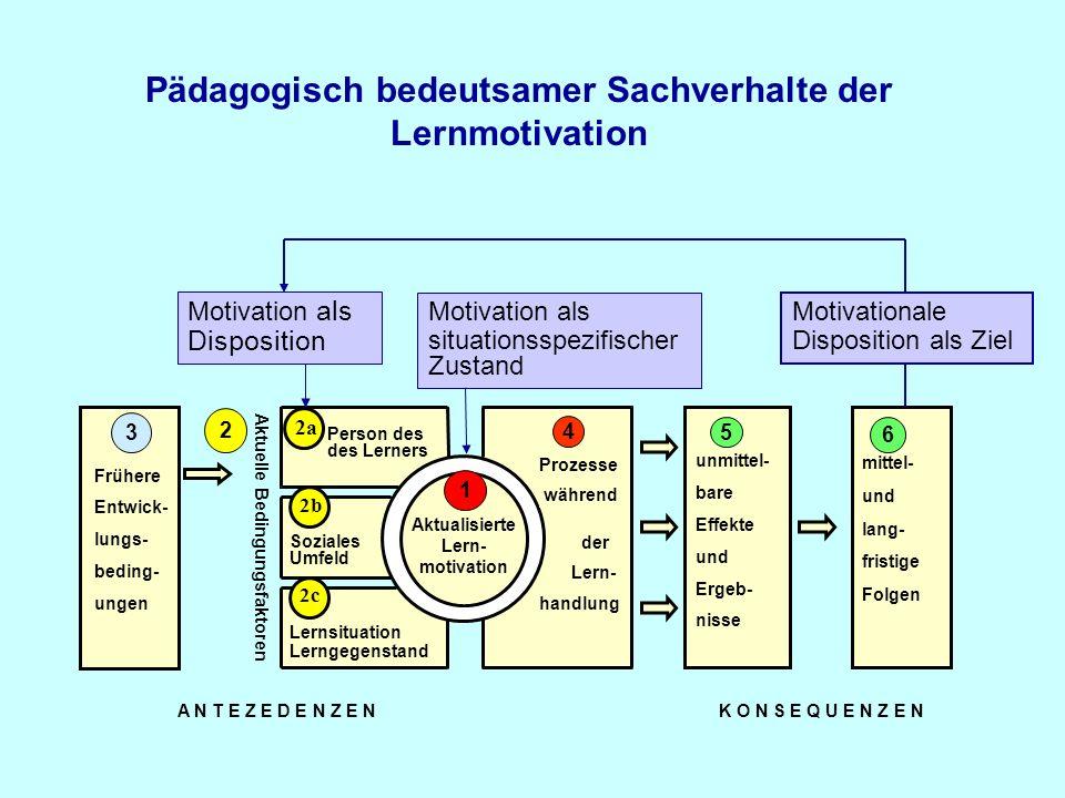 Prozesse während Frühere Entwick- lungs- beding- ungen Soziales Umfeld Lernsituation Lerngegenstand Person des des Lerners Aktualisierte Lern- motivation 1 A N T E Z E D E N Z E N K O N S E Q U E N Z E N 2c 2b mittel- und lang- fristige Folgen 2 5 43 Aktuelle Bedingungsfaktoren der handlung Lern- unmittel- bare Effekte und Ergeb- nisse 5 6 Zwei Möglichkeiten das Interessenkonstrukt theoretisch und empirisch zu verankern 2a 1 Interesse als Disposition Interesse als situationsspezifischer Zustand