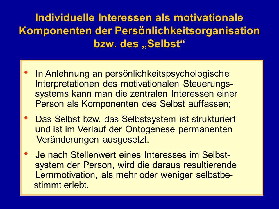 Individuelle Interessen als motivationale Komponenten der Persönlichkeitsorganisation bzw. des Selbst In Anlehnung an persönlichkeitspsychologische In