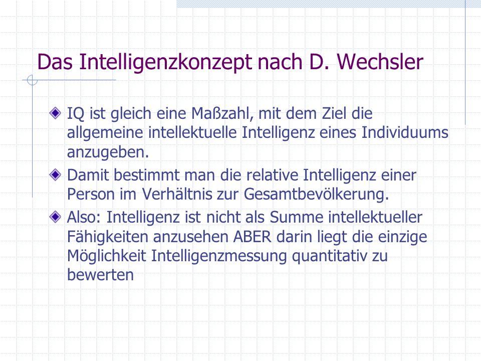 Das Intelligenzkonzept nach D. Wechsler IQ ist gleich eine Maßzahl, mit dem Ziel die allgemeine intellektuelle Intelligenz eines Individuums anzugeben