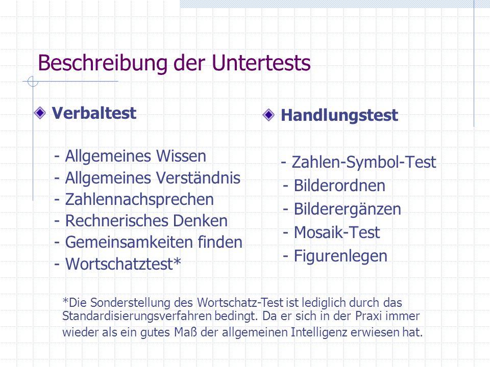 Allgemeines Wissen 25 Fragen aus unterschiedlichen Wissensbereichen mit ansteigender Schwierigkeit Der Test wird abgebrochen, wenn der Proband 5 aufeinanderfolgende Aufgaben nicht oder falsch beantwortet hat.