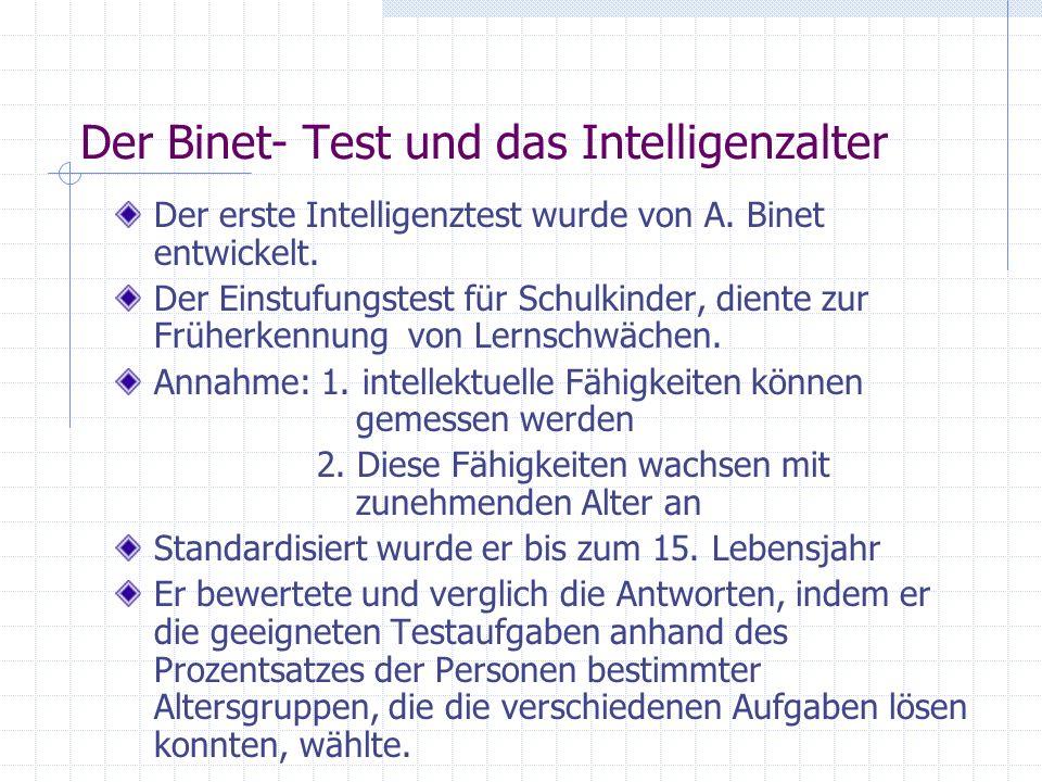 Der Binet- Test und das Intelligenzalter Der erste Intelligenztest wurde von A. Binet entwickelt. Der Einstufungstest für Schulkinder, diente zur Früh
