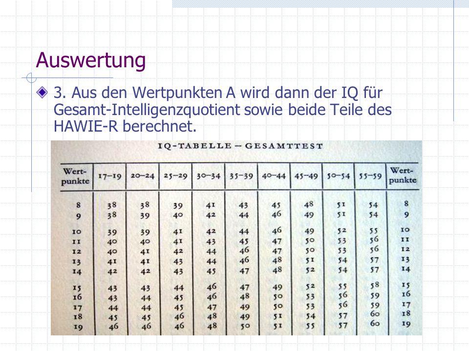 Auswertung 3. Aus den Wertpunkten A wird dann der IQ für Gesamt-Intelligenzquotient sowie beide Teile des HAWIE-R berechnet.
