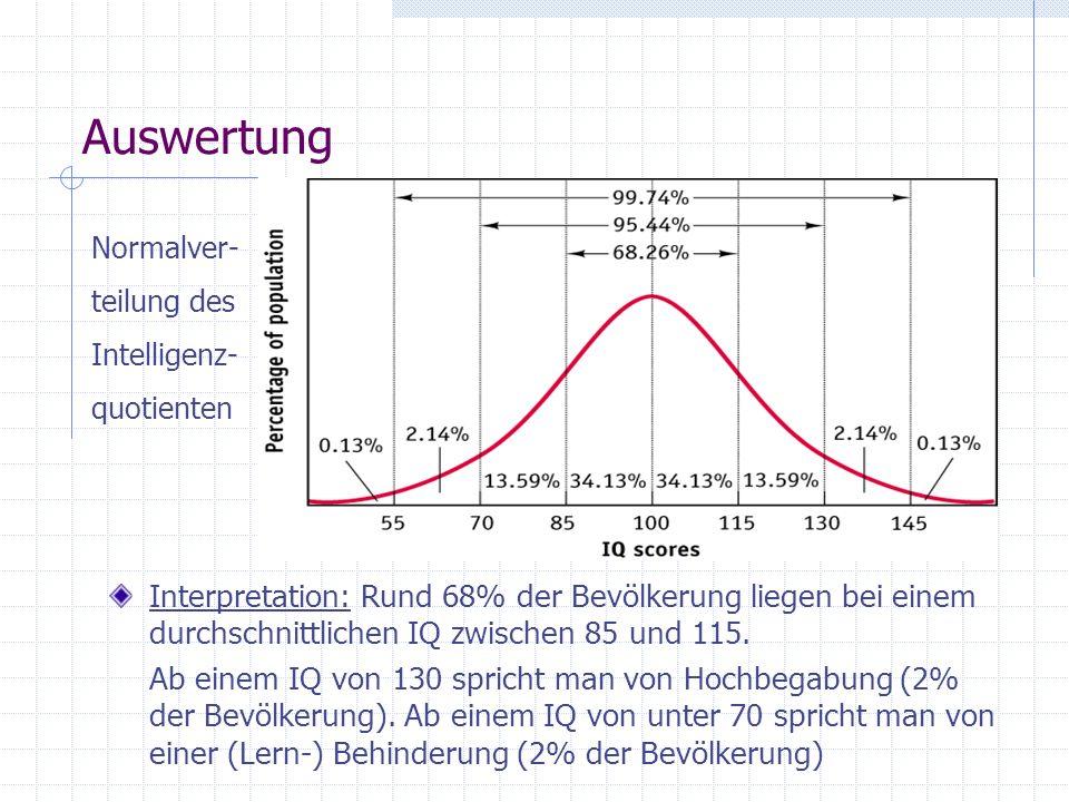Auswertung Interpretation: Rund 68% der Bevölkerung liegen bei einem durchschnittlichen IQ zwischen 85 und 115. Ab einem IQ von 130 spricht man von Ho