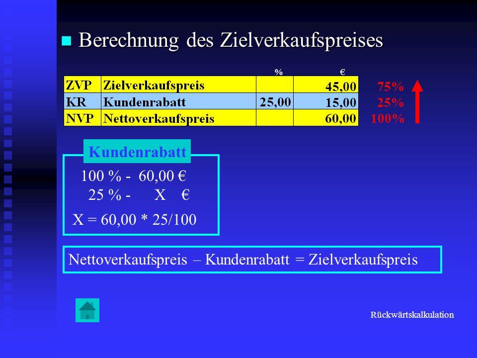Berechnung des Zielverkaufspreises Berechnung des Zielverkaufspreises 75% 25% 100% Kundenrabatt 100 % - 60,00 25 % - X X = 60,00 * 25/100 15,00 Nettov