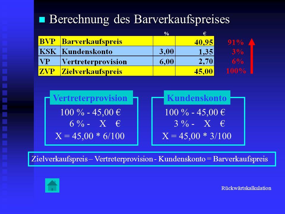 Berechnung des Barverkaufspreises Berechnung des Barverkaufspreises 91% 3% 6% 100% Vertreterprovision 100 % - 45,00 6 % - X X = 45,00 * 6/100 2,70 Kun