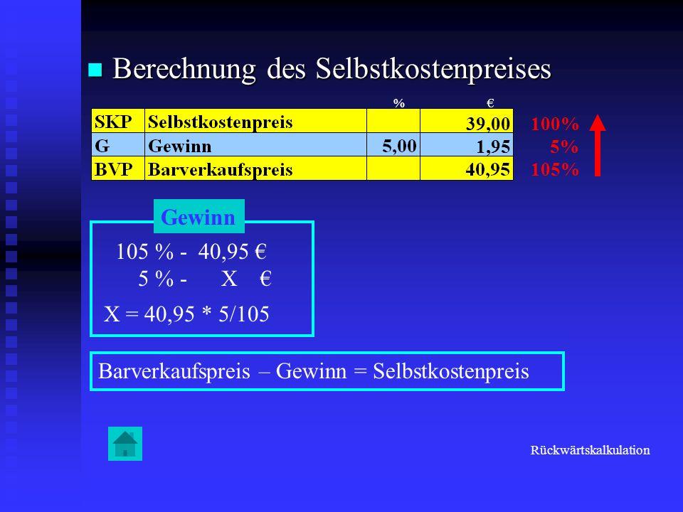 Berechnung des Selbstkostenpreises Berechnung des Selbstkostenpreises 100% 5% 105% Gewinn 105 % - 40,95 5 % - X X = 40,95 * 5/105 1,95 Barverkaufsprei
