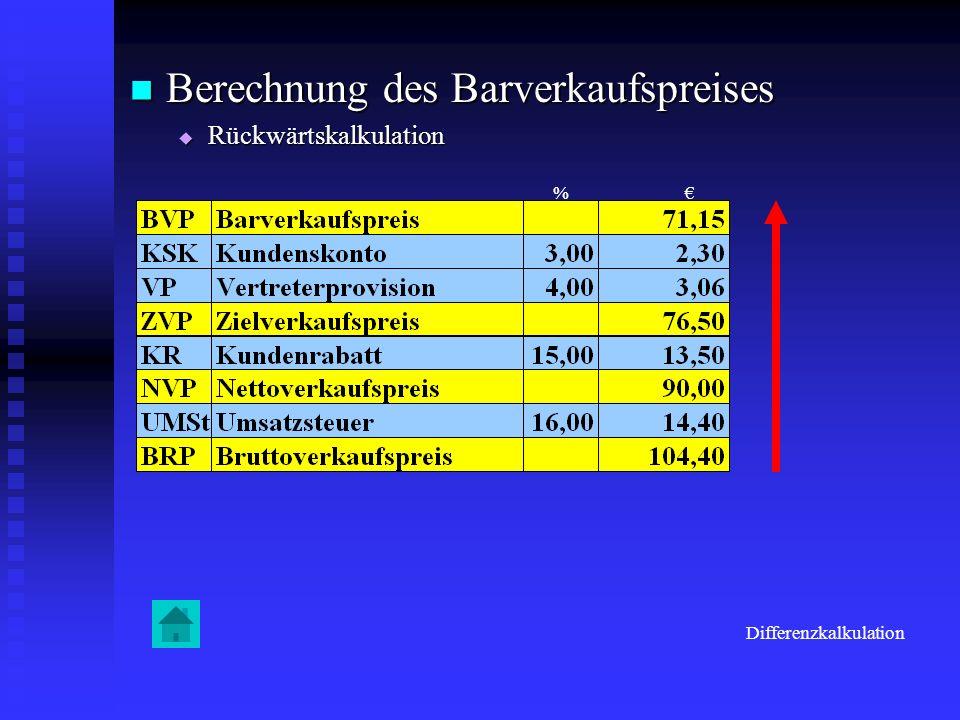 Berechnung des Barverkaufspreises Berechnung des Barverkaufspreises Rückwärtskalkulation Rückwärtskalkulation Differenzkalkulation %