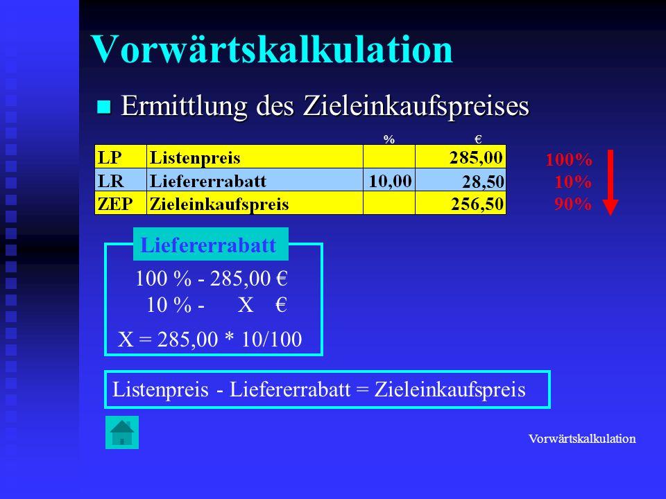 Ermittlung des Bareinkaufspreises Ermittlung des Bareinkaufspreises 100% 2% 98% 100 % - 256,50 2 % - X X = 256,50 * 2/100 Zieleinkaufspreis – Liefererskonto = Bareinkaufspreis 5,13 251,37 Liefererskonto Vorwärtskalkulation %