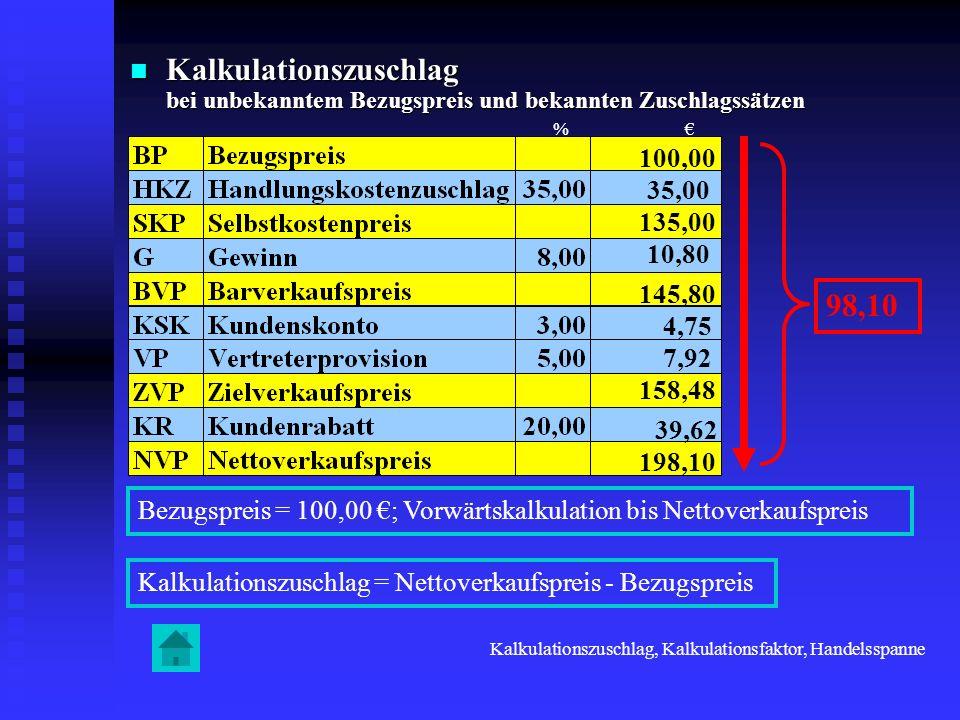 Kalkulationszuschlag bei unbekanntem Bezugspreis und bekannten Zuschlagssätzen Kalkulationszuschlag bei unbekanntem Bezugspreis und bekannten Zuschlag