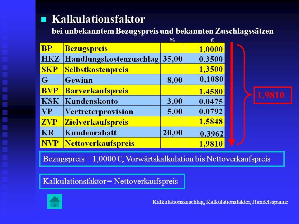 Kalkulationsfaktor bei unbekanntem Bezugspreis und bekannten Zuschlagssätzen Kalkulationsfaktor bei unbekanntem Bezugspreis und bekannten Zuschlagssät