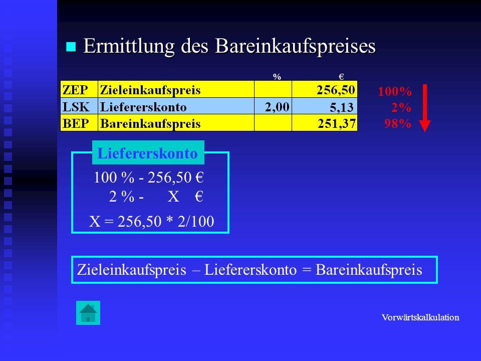 Berechnung des Bezugspreises Berechnung des Bezugspreises 100% 40% 140% Handlungskostenzuschlag 140 % - 39,00 40 % - X X = 39,00 * 40/140 11,14 Selbstkostenpreis – Handlungskostenzuschlag = Bezugspreis 27,86 Rückwärtskalkulation %