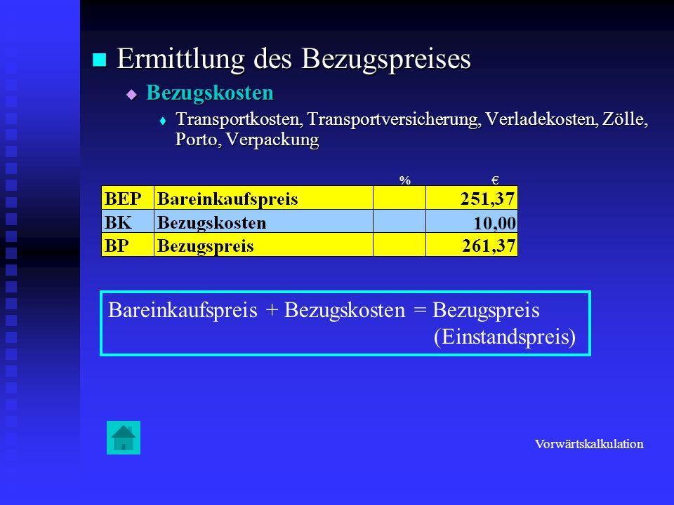 Ermittlung des Bezugspreises Ermittlung des Bezugspreises Bezugskosten Bezugskosten Transportkosten, Transportversicherung, Verladekosten, Zölle, Port