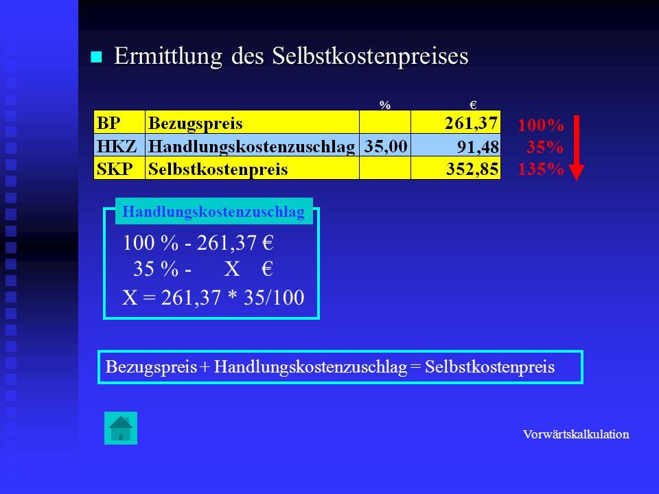 Ermittlung des Selbstkostenpreises Ermittlung des Selbstkostenpreises 100% 35% 135% 100 % - 261,37 35 % - X X = 261,37 * 35/100 Bezugspreis + Handlung