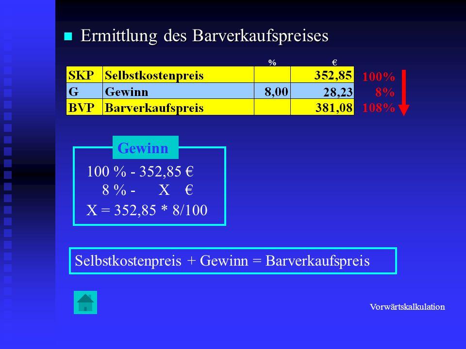 Ermittlung des Barverkaufspreises Ermittlung des Barverkaufspreises 100% 8% 108% Gewinn 100 % - 352,85 8 % - X X = 352,85 * 8/100 28,23 Selbstkostenpr