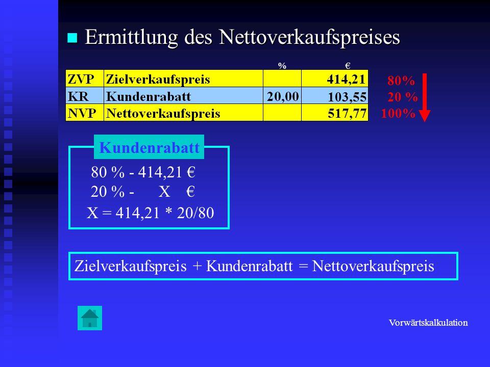 Ermittlung des Nettoverkaufspreises Ermittlung des Nettoverkaufspreises 80% 20 % 100% Kundenrabatt 80 % - 414,21 20 % - X X = 414,21 * 20/80 103,55 51
