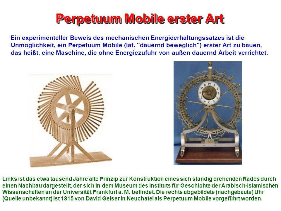 Perpetuum Mobile erster Art Ein experimenteller Beweis des mechanischen Energieerhaltungssatzes ist die Unmöglichkeit, ein Perpetuum Mobile (lat.