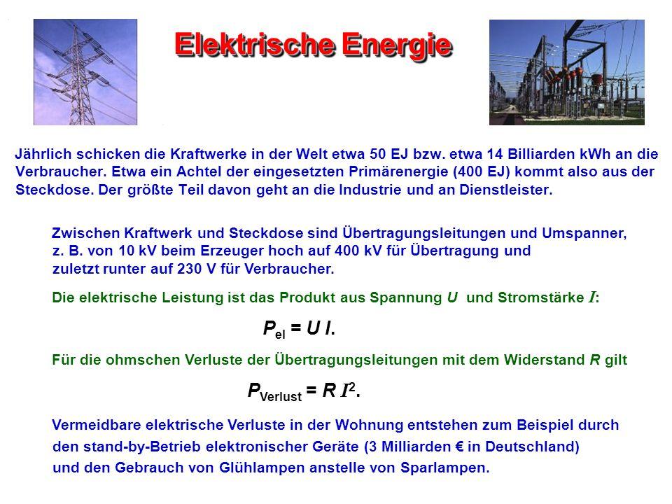 Elektrische Energie Jährlich schicken die Kraftwerke in der Welt etwa 50 EJ bzw. etwa 14 Billiarden kWh an die Verbraucher. Etwa ein Achtel der einges